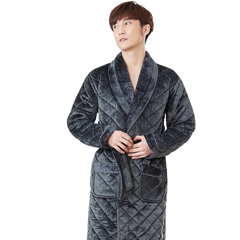Thick 3 Layers Warm Winter Bathrobe Men Soft Flannel Quilted Long Kimono Bath Robe Male Dressing Gown For Mens Coral Fleece Robe