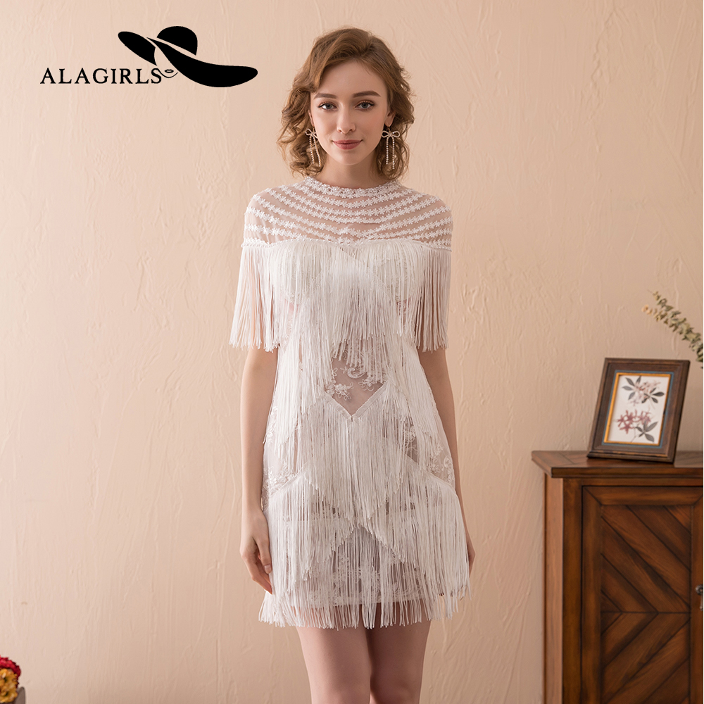 Alagirls Tassels Homecoming Dress 2019 Short Lace Prom Dresses Sexy Illusion Graduation Party New Arrival Cocktail