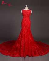 Jark Tozr Vestido De Noche Beading Appliques Cut Out Back Red Tulle Luxury Mermaid Fomal Evening