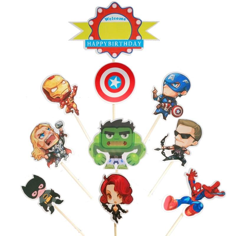 Pleasing 10 Pcs Avengers Superhero Party Supplies Favors Baby Shower Kids Funny Birthday Cards Online Elaedamsfinfo