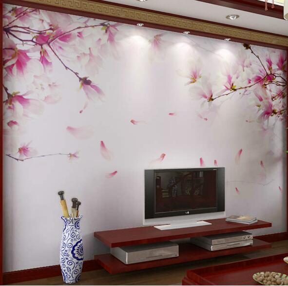 Wallpaper Living Room Wall Blue Wool Rug 3d Embossed Cherry Blossom Flower Photo Mural Floral ...