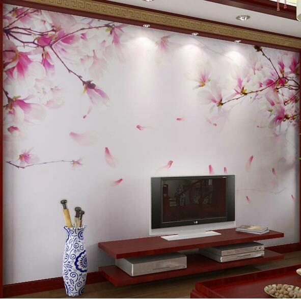 3d Wallpaper For Living Room Wall 3d Embossed Cherry Blossom Flower Photo Mural Floral