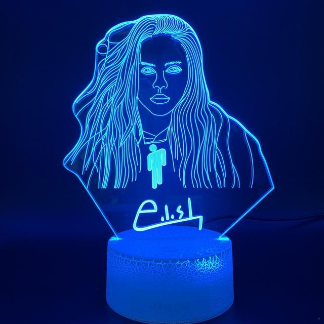 16 COLOR WITH REMOTE BILLIE EILISH 3D LED LAMP