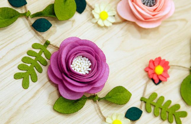 Felt Diy Craft Felt Flowers Artificial Flowers And Rattan Felt DIY Package Decoration For Living Room And Bedroom