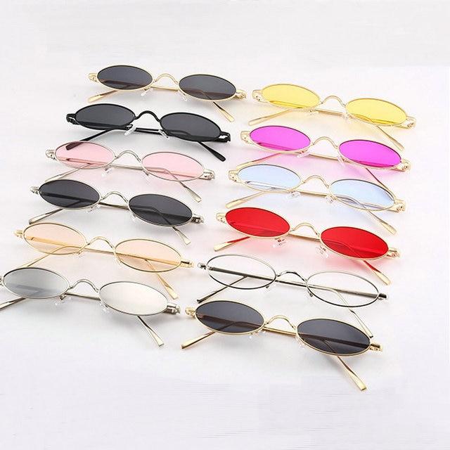 Moda Vintage Pequeno Oval Óculos De Sol Unisex Chic Sexy Marca de Luxo  Designer de Óculos 849eddfc58