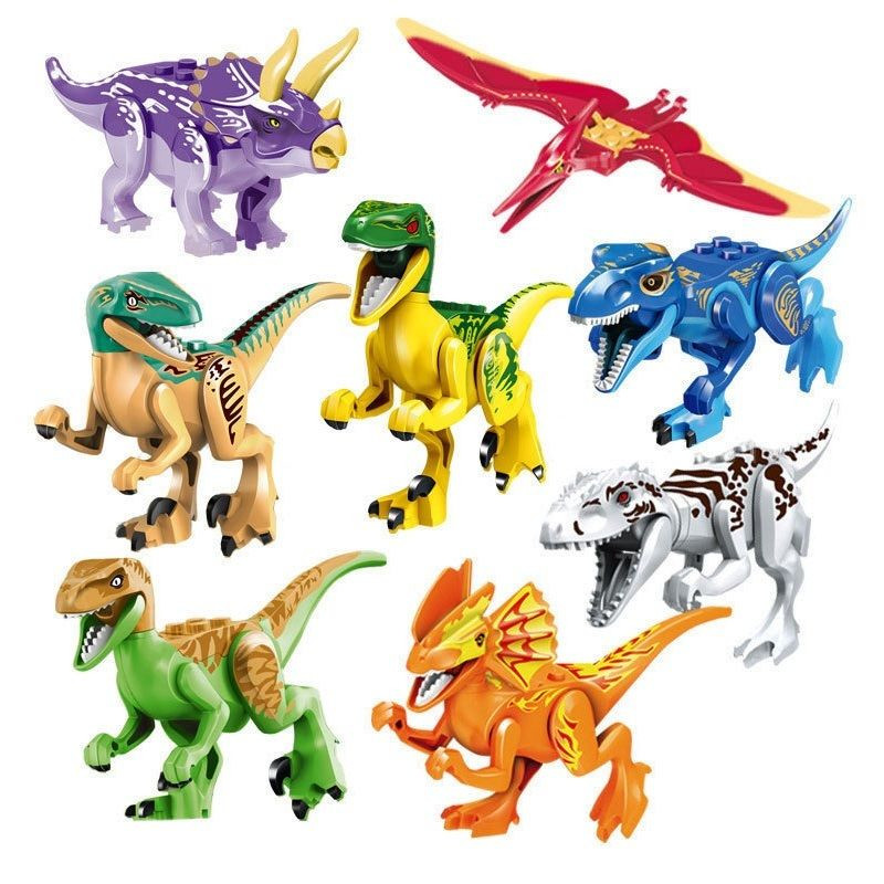 Jurassic World Park T-Rex Dinosaurs Action Figure Toys Tyrannosaurus Rex Pterosauria Triceratops Dinosaur Building Kids Toy 2 sets jurassic world tyrannosaurus building blocks jurrassic dinosaur figures bricks compatible legoinglys zoo toy for kids
