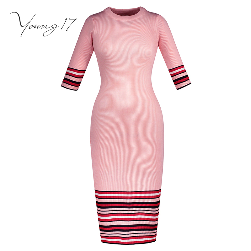 Young17 Women Knitted Sweater Dress Striped Bodycon Long Sleeve Mid-Calf Round Neck Solid Pink Patchwork Girl Office Lady Dress stylish round neck long sleeve stereo flower embellished knitted dress for women