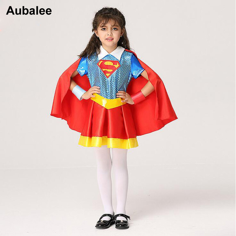 Kids Supergirl Superman Cosplay Costume For Girls Halloween Children Fancy Dress DC Superhero With Red Cloak Party Outfit