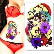 Tribal Sorceress Sexy Gals Temporary Body Art, Flash Tattoo Sticker 21*15cm Waterproof Henna Tatoo Summer Style Sex Products