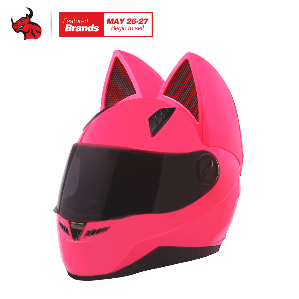 NITRINOS Motorcycle Helmet Women Personality Moto Capacete Cat Helmet Fashion Casco Moto Full Face Helmet