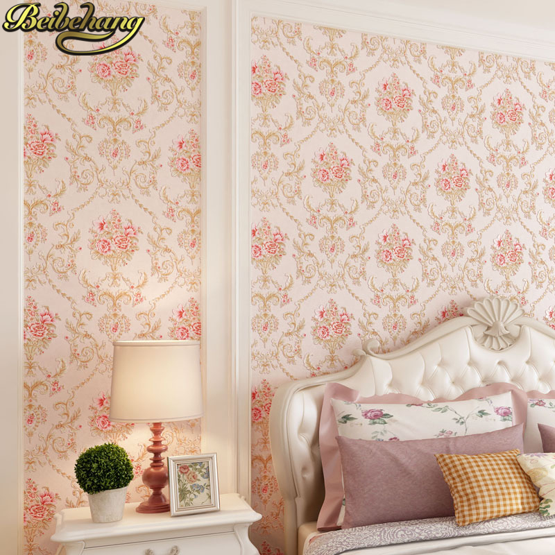 beibehang Pink flowers Non woven wallpaper for wall 3d pastoral bedroom Living r