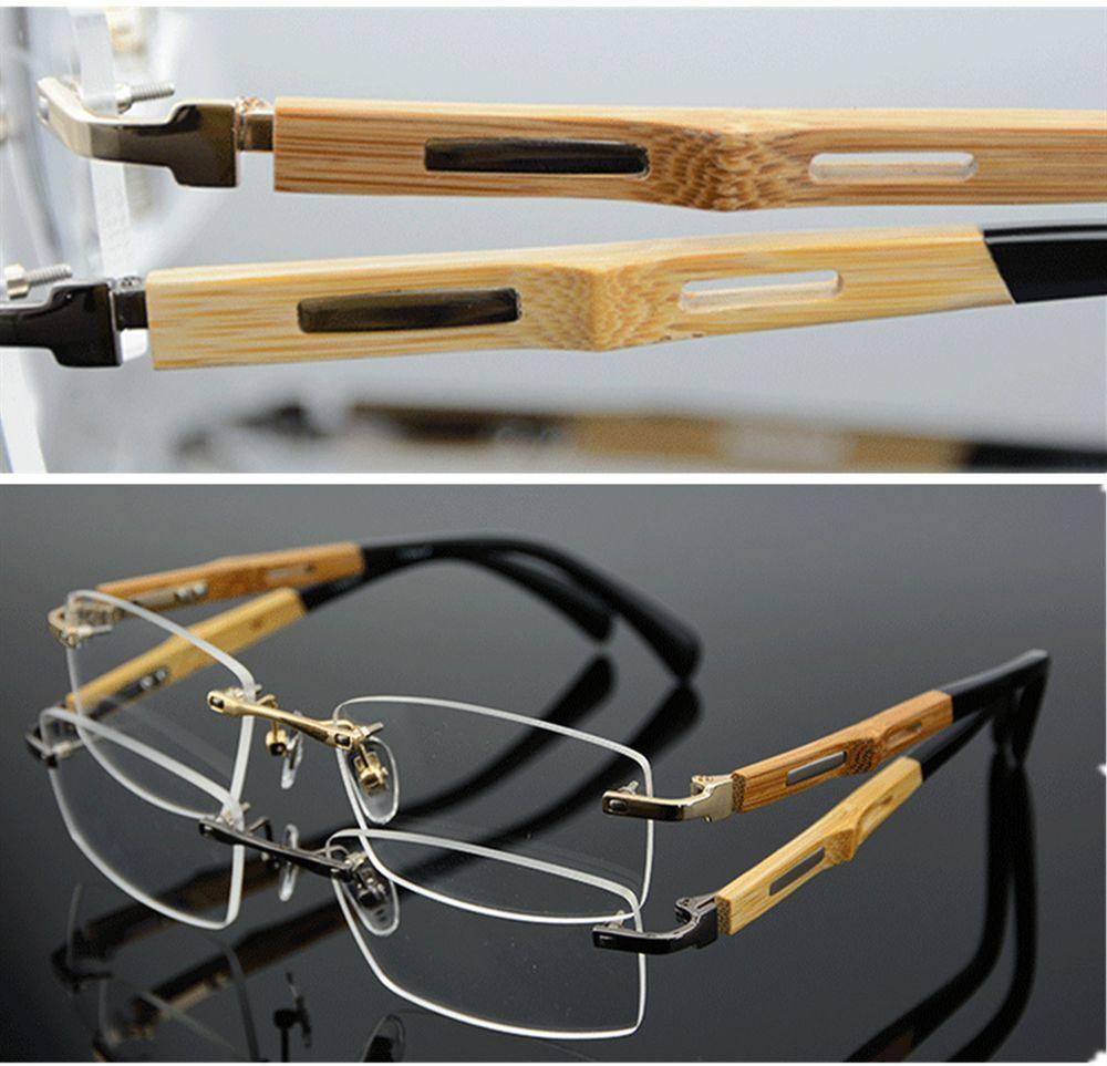 Monture de lunettes en titane Temple en bambou lunettes sans monture lunettes Rx able
