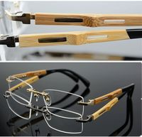 Titanium Eyeglass Frame Bamboo Temple Rimless Glasses Eyewear Spectacles Rx able