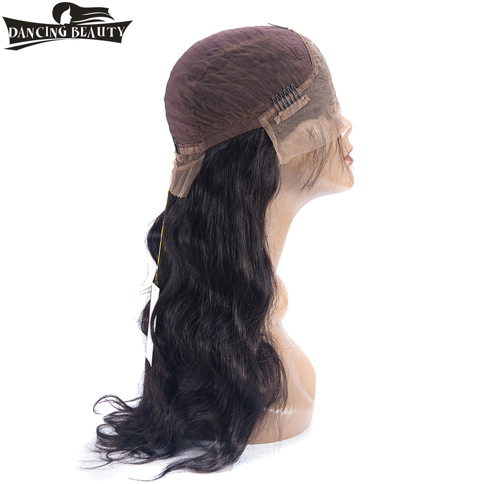 DANCING BEAUTY Pre-Colored Lace Frontal Wigs Pre Plucked 130% Density Brazilian Human Body Wave Non Remy Hair Natural Color