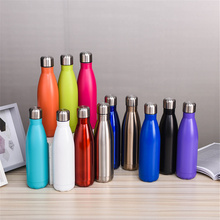 High Quality Thermos Solid Color Bicycle Water Bottle 500ml Vacuum Flask  Stainless Steel Insulated Cup Drink