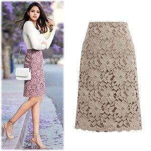 Image 3 - 2020 Fashion Lace Women Skirt Large Size Elastic Waist A line Slim Female Skirts Plus Size Skirts
