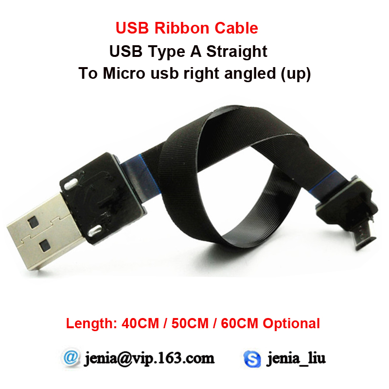 40CM/50CM/60CM Ultra slim flat usb ribbon cable Standard type A to male Micro up angled ideal for PC Camera Printer or camcorder 40cm 50cm 60cm ultra thin usb flat ribbon cable type c straight to male micro down angle line connector