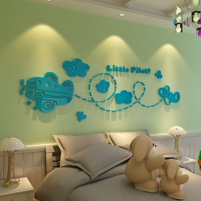 Small Aircraft Pilots Acrylic Wall Stickers Cartoon Children S Room Decor Baby Perspective Bedroom