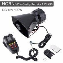 Durable Plastic Black 100W 12V 7 Sound Car Electronic Warning Siren Motorcycle Alarm Firemen Ambulance Loudspeaker with MIC