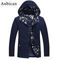 Мода Капюшоном Мужчины Куртка 2016 Осенью Новый Тонкий Синий Верхняя Одежда Плюс Размер М-4XL Сплошной Хлопок Мужская Повседневная Молнии Пальто