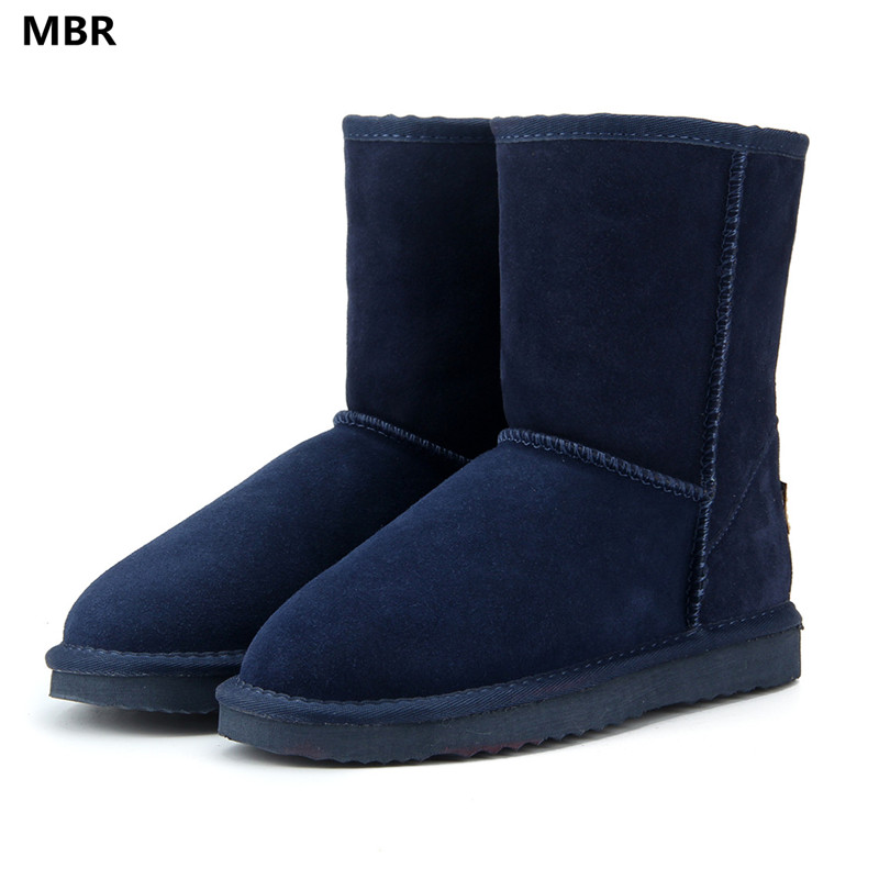 MBR 2017 New Style Hot Sale 100% Genuine Leather Fashion Girls Winter UG Snow Boots For Women Warm Winter Shoes Free Shipping hot sale fashion winter warm women lady s beret braided baggy beanie crochet hat ski cap 9 colors drop shipping