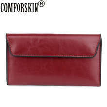 COMFORSKIN New Arrivals Ladies Organizer Wallet With Detachable Card Slot European and American Large Capacity Cover Purses