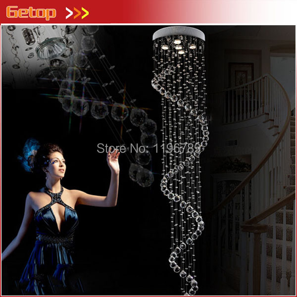 Luxury Lustre Ceiling Lamp Luster Duplex Spiral Stairs K9 Crystal Chandeliers Ceiling Chandelier with LED Bulb GU10 free ship