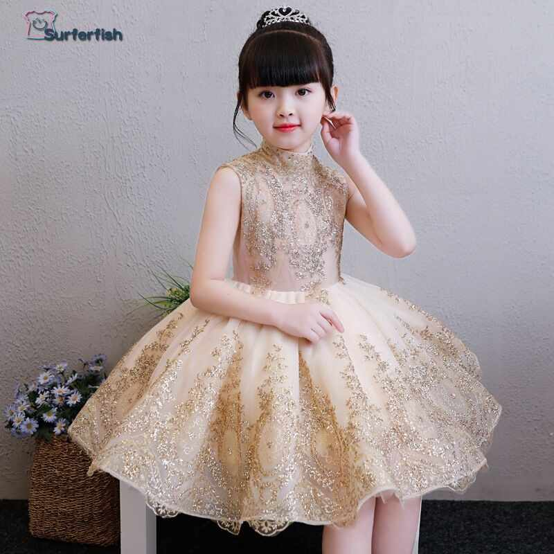 Surferfish 2019 Children s princess dress girl s wedding dress girl  sleeveless evening dress gold Sequins Valentine s Day 9316bd3ef119