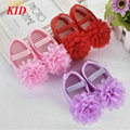 Hot Sale Baby Girls Ballet Princess Shoes Lace Flowers Shoes Infants First Walkers Baby Moccasins Bow Shoes KD503