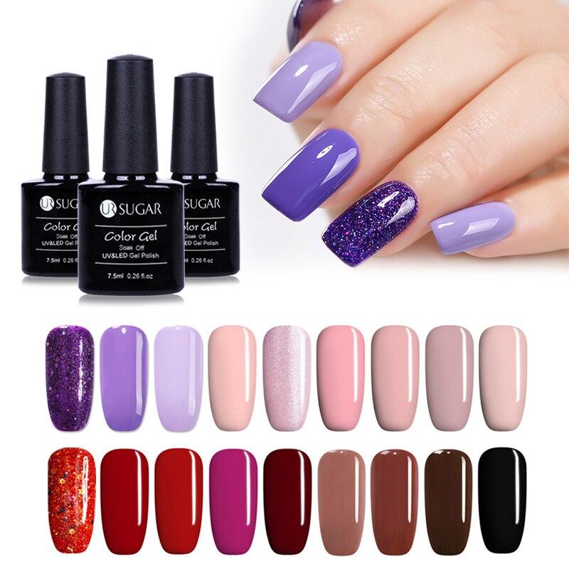 UR SUGAR 3pcs/lot Nail Gel Set Soak Off UV Nude Pink Glitter Gel Polish Vernish Manicure Kit Gel Lacquer Semi Permanent 7.5ml