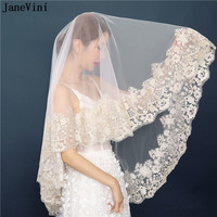 JaneVini Elegant Ivory One Layer Short Wedding Veil Elbow Length Veil Champagne Gold Appliques Edge Bridal Wedding Accessories