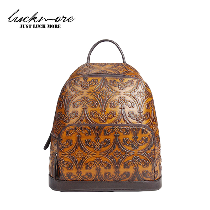 2017 Retro Embossed Genuine Leather Backpack Women Fashion Designer Zipper Bag Woman Shoulder Bags Ladies Backbag For Girls 2016 fashion women s genuine leather backpack backbag hot selling woven genuine leather