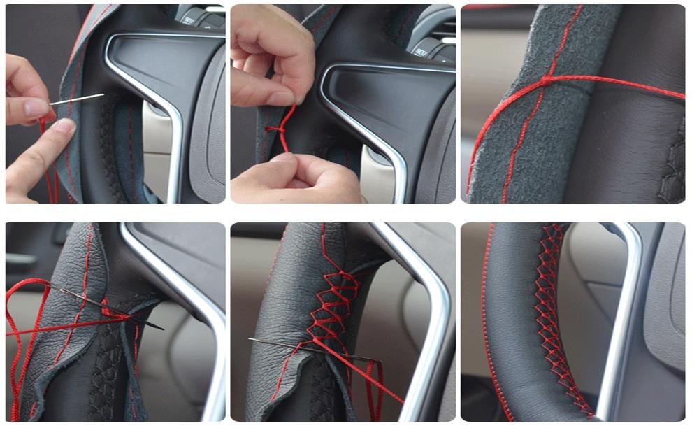 Cubierta del volante del automóvil Diy Interior de auto cosido a - Accesorios de interior de coche - foto 4