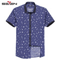 Seven7 Summer Men Fashion Shirts White Snow Pattern Print Purpler Button Down Shirts Short Sleeve Casual Slim Shirts 108A38060