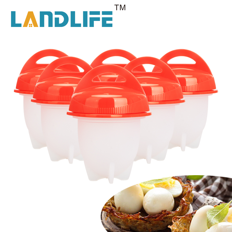 Landlife Silicone Maker Egg Cooker Tools 6pcs/set Hard Boiled Eggs without the Shell Egg Poachers Cooker Tools Dropshipping