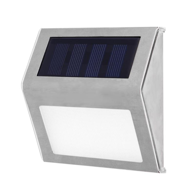 1-4pcs Stainless Steel 3LED Solar Light Waterproof Outdoor Solar Garden Power Light Energy Saving Courtyard Pathway Wall Lamp
