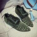 2016 nueva moda de cuero botas de las mujeres de los remaches Plana con otoño botines de invierno botas de nieve botas zapatos de mujer