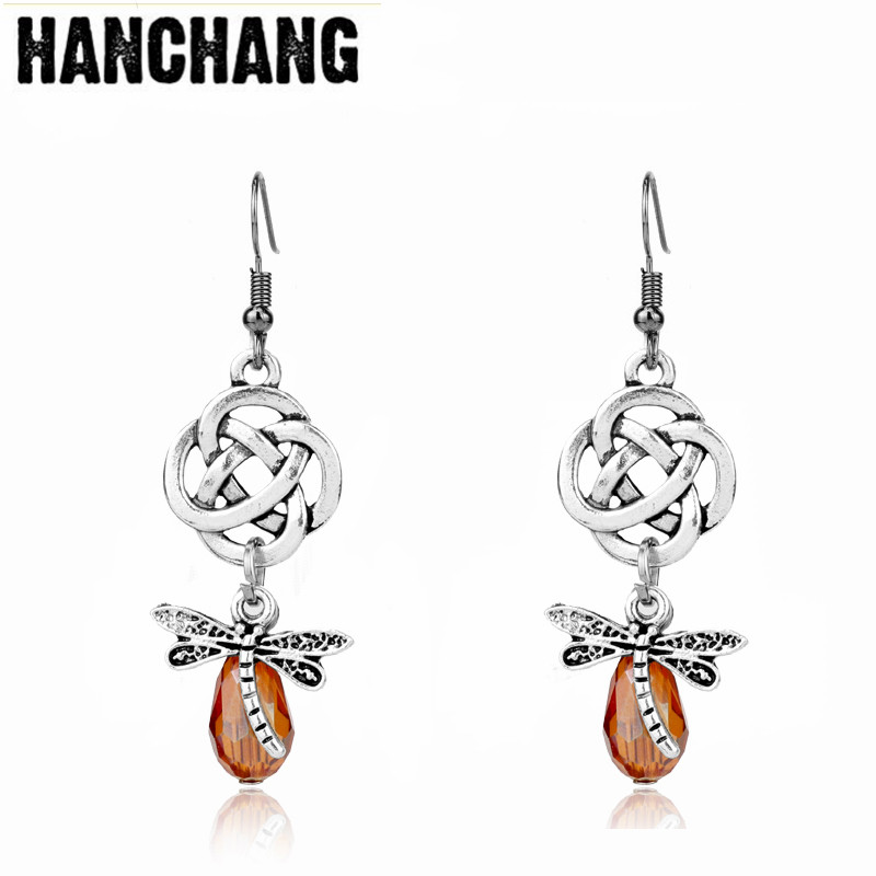 Women Charm Jewelry Outlander Scottish Irish Knot Dragonfly Dangle Earring Drop Earring For Lady Dress Decoration