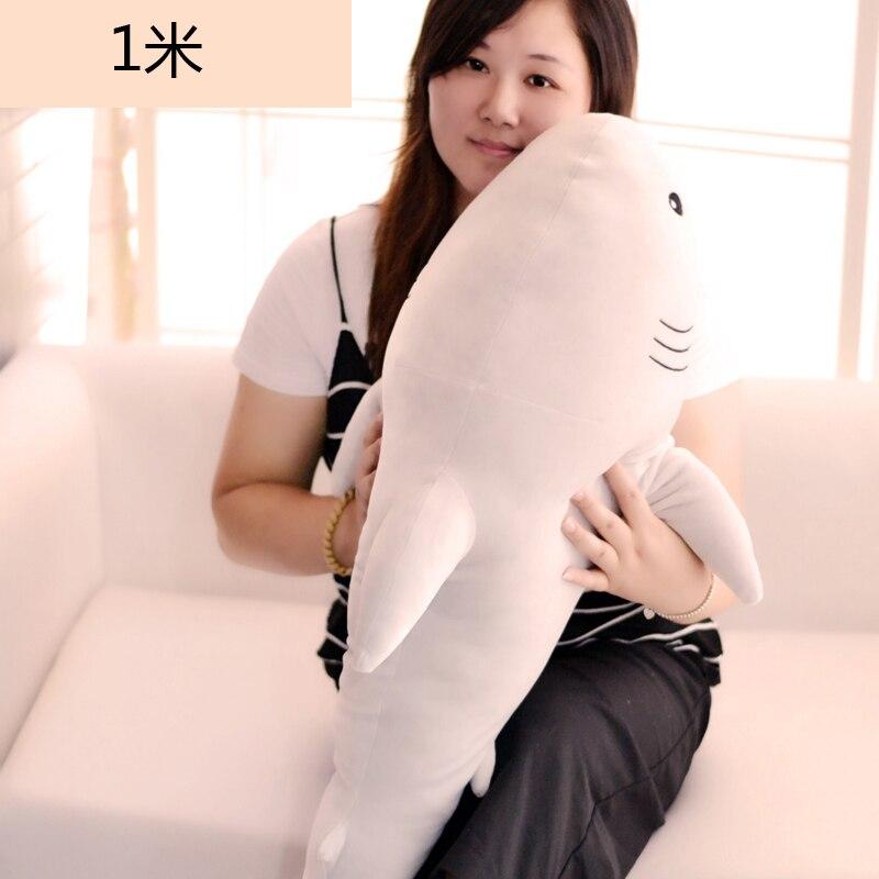 Nouveau peluche doux requin jouet grand gris clair requin poupée cadeau environ 100 cm