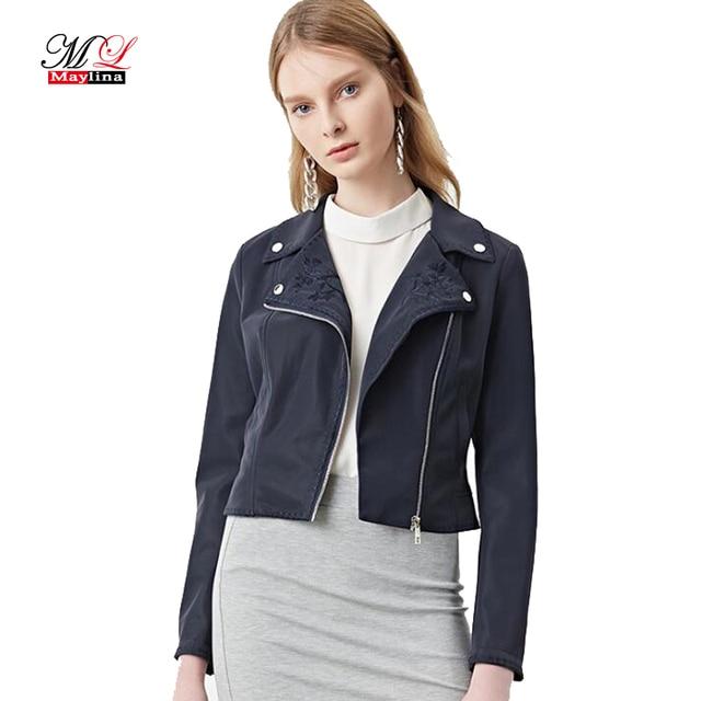7b1d13a7e US $45.88  Maylina Fashion Autumn 2017 Women Leather Coats Slim Short Biker  Faux Leather Jacket Female Navy Blue Pu Motorcycle Jacket Mujer-in Leather  ...