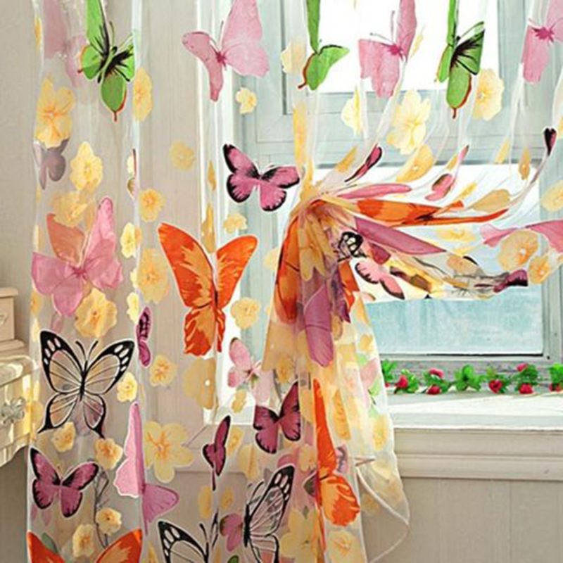 Hot 2*1M big Butterfly Print Sheer Curtain Panel Window Balcony Tulle Room Divider Curtain Free Shipping