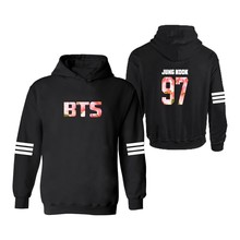 Korean Stars Classic 4xl Hooded Hoodies Women Plus Size in Bangtan Boys Women Hoodies Sweatshirts Hoodie 3xl Black White Gray