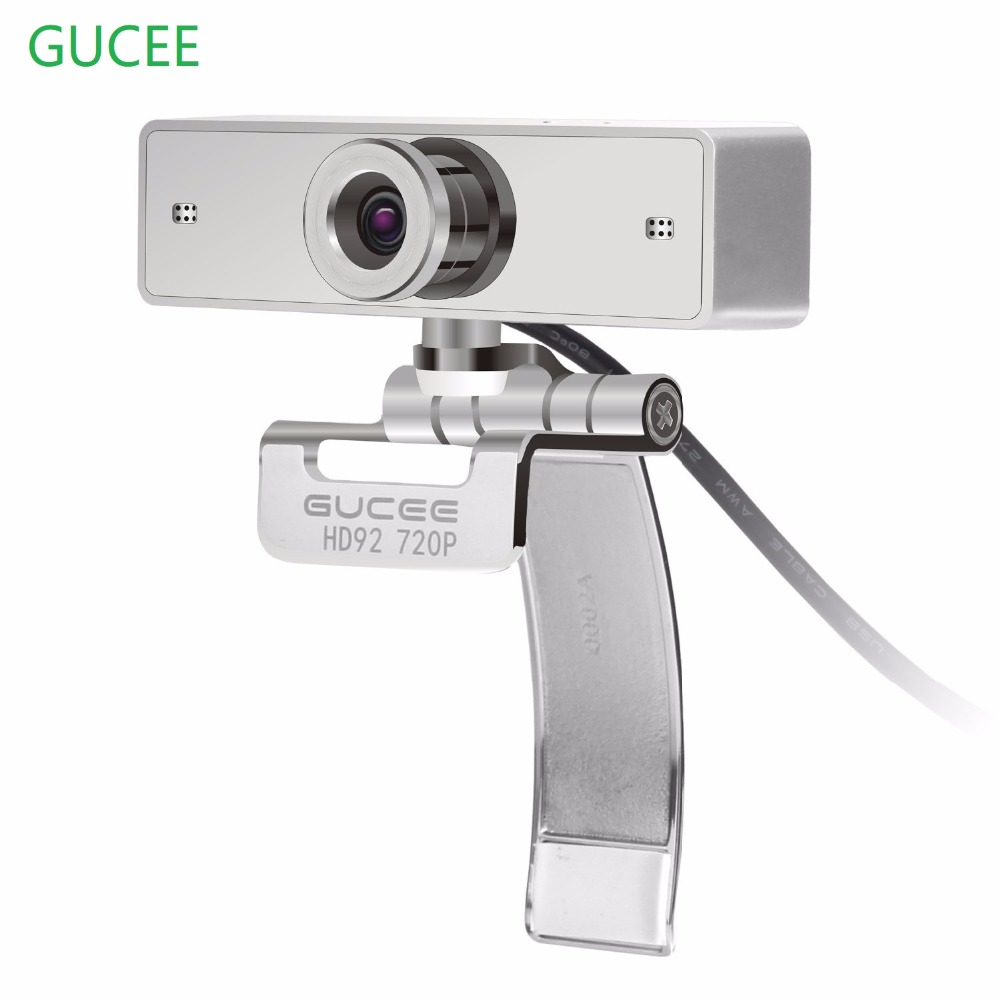 Webcam 720P, GUCEE HD92 Webkamera til Skype med innebygd HD-mikrofon 1280 x 720p USB Plug n Play Web Cam, Widescreen Video