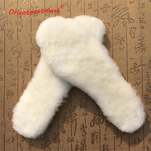 Children's Insoles for Snow Boots Shoe Pad Real Fur 100% Cashmere Natural Sheepskin Thermal Insoles for Winter Boots Shoes Warm