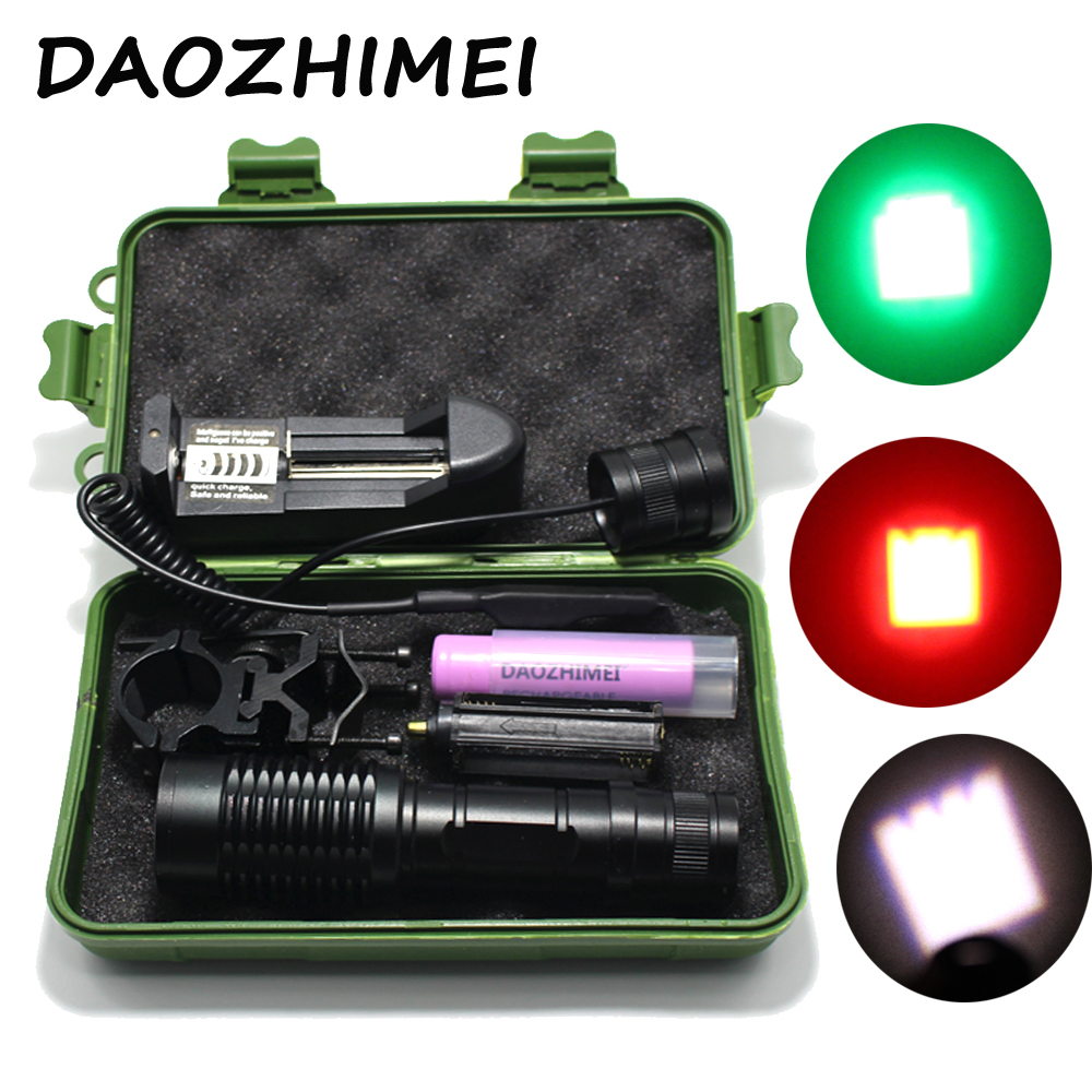 White Red Green Light Zoomable Tactical LED Flashlight Lantern Torch Hunting Fishing Outdoor+Battery +Mount Pressure Switch