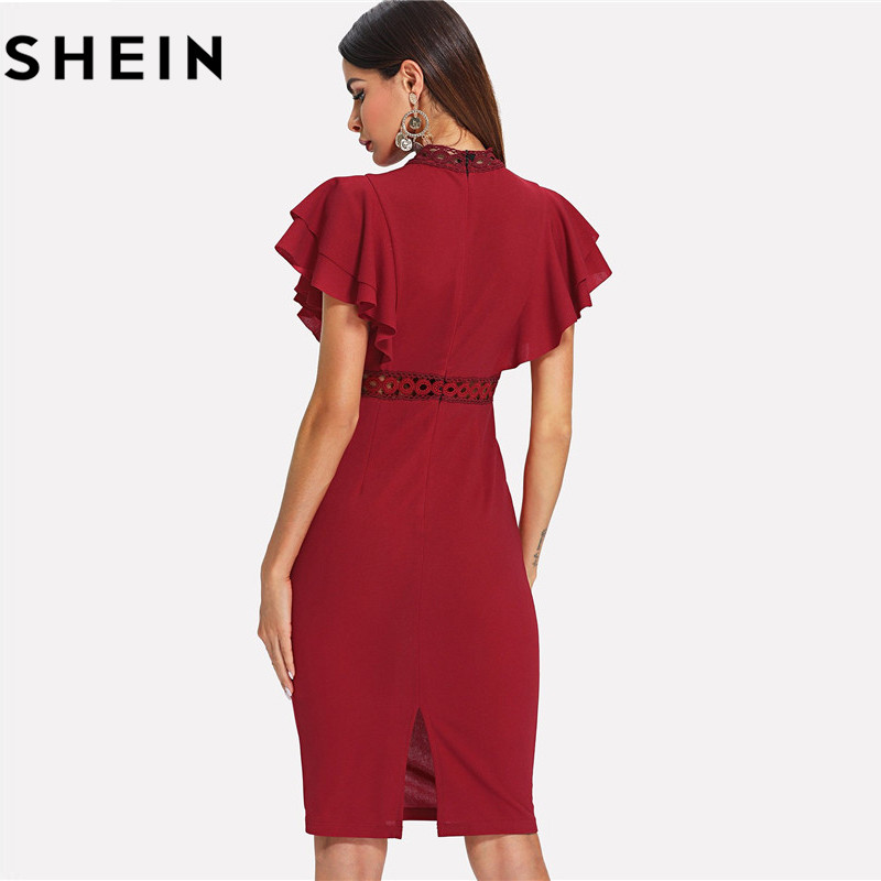 SHEIN High Waist Retro Lace Dress 1