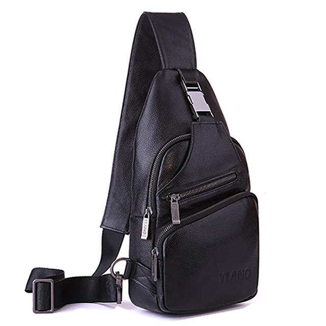 Genuíno Couro De Couro Único de Volta Homens Pacote Peito Corpo Cruz Dia Pacote de Viagem de Marca Famosa Mensageiro Do Vintage Ombro Sling Bag