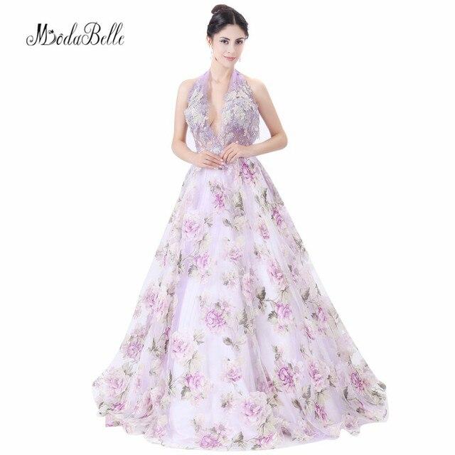 e8868761c7 modabelle Halter Backless Evening Dress Print Flower Sleeveless A Line  Purple Long Appliques Floral Prom Dresses For Formal 2018