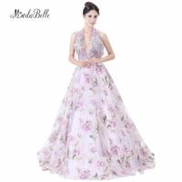 modabelle Halter Backless Evening Dress Print Flower Sleeveless A Line Purple Long Appliques Floral Prom Dresses For Formal 2018