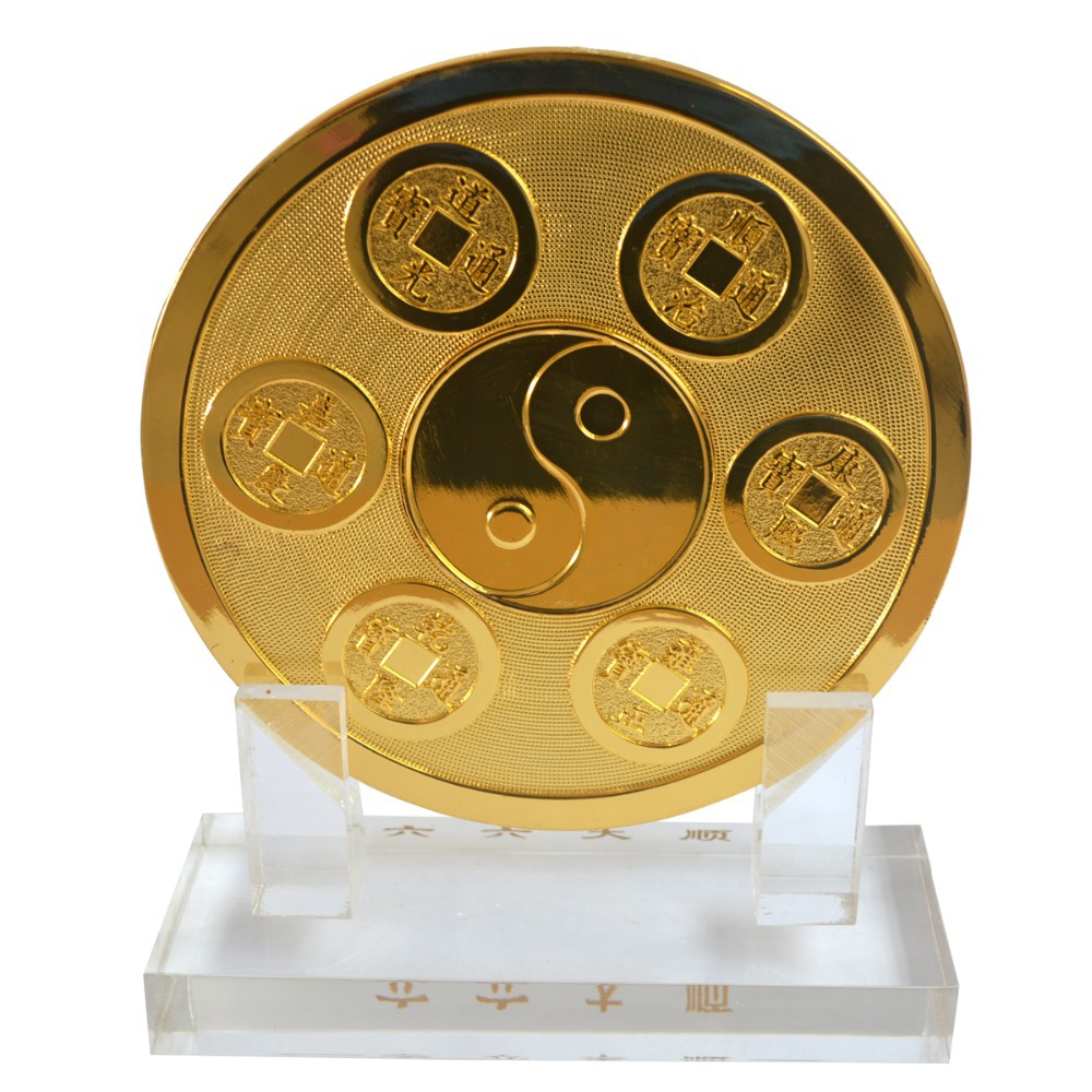 Fengshui 6 Heaven Gold Coins with Celestial Dragon Plaque Wealth Luck Enhancer W Free Red String
